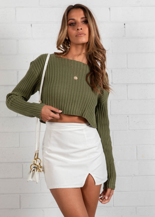 Alexi Cropped Sweater - Khaki