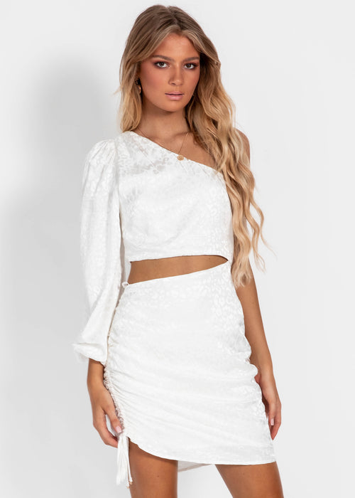 Alisa Drapped Mini Dress - White