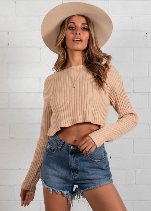 Alexi Cropped Sweater - Camel