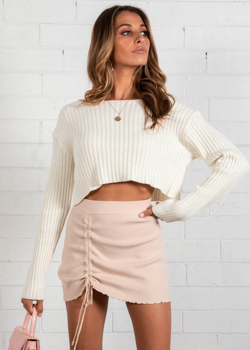 Alexi Cropped Sweater - Cream