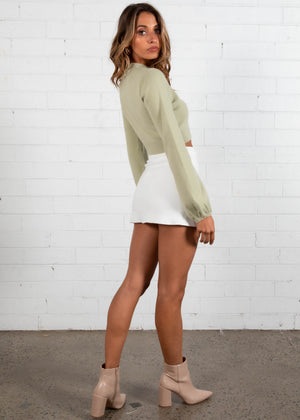Tammy Cropped Sweater - Pistachio