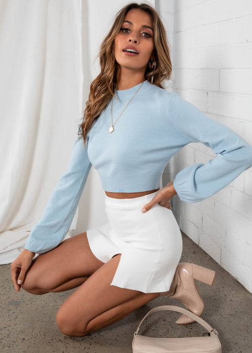 Tammy Cropped Sweater - Powder Blue