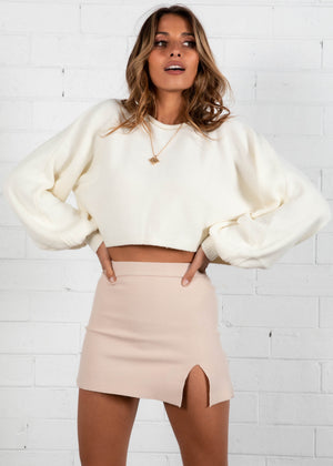 Karmen Cropped Sweater - Cream