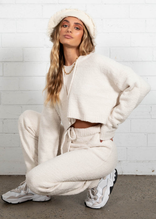 Eli Hooded Knit Set - Cream