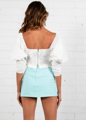 Forbidden Love Mini Skirt - Aqua