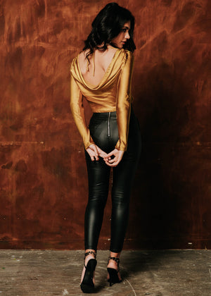 Andra Low Back Blouse - Gold