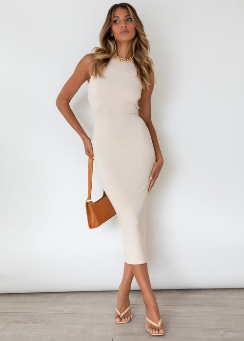 Level Headed Midi Dress - Beige