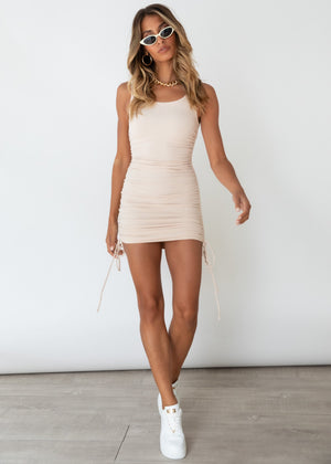 Delilah Ruched Mini Dress - Beige