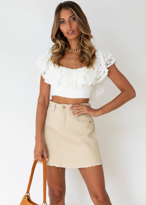 Skye Off Shoulder Crop - White