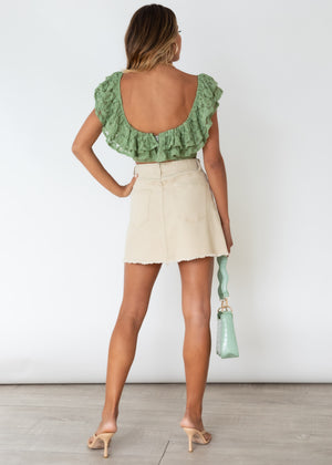 Skye Off Shoulder Crop - Sage