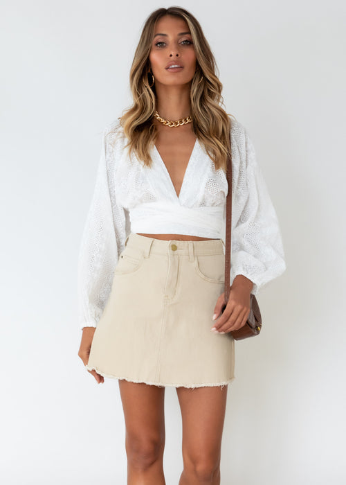 Myaih Tie Blouse - White Anglaise