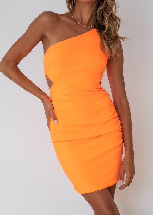 Jaxie One Shoulder Dress - Neon Orange