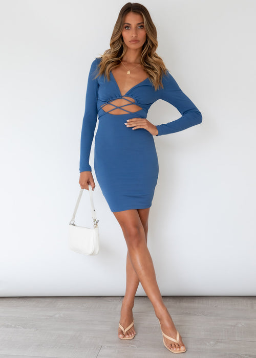 Pushing Boundaries Dress - Cobalt
