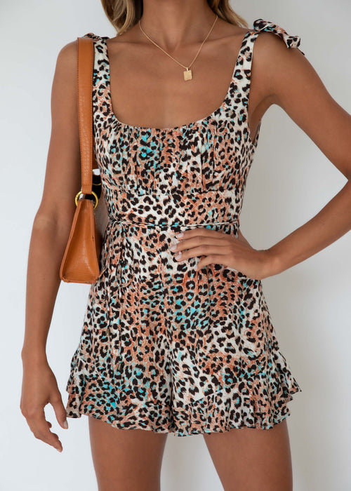 Mirror Image Playsuit - Leopard