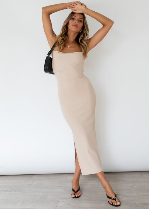 Zanya Midi Dress - Beige