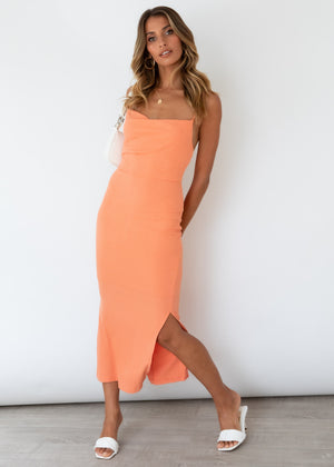 Zanya Midi Dress - Tangerine