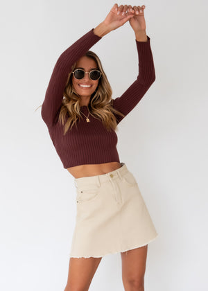 Heavenly Sent Knit Top - Chocolate
