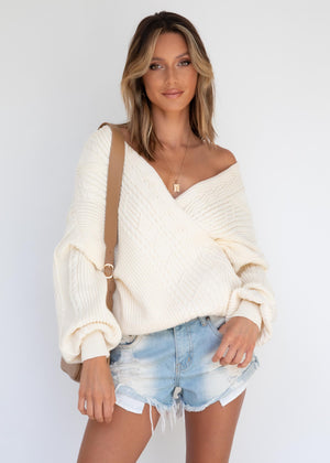 Valentine Crossover Sweater - Cream