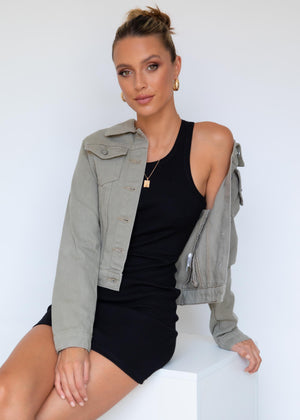Davina Denim Jacket - Khaki Denim