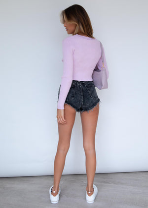 Stay Golden Knit Crop - Lilac