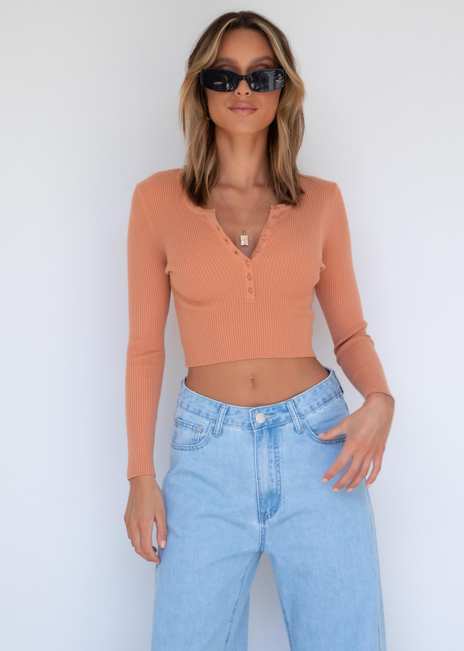 Halsey Knit Top - Apricot