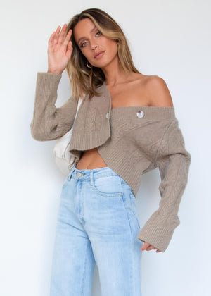 Oaklyn Crop Buttoned Sweater - Mocha