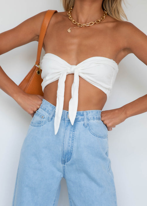 Reynolds Strapless Crop - White
