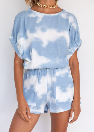 Girl Talk Top - Blue Tie-Dye