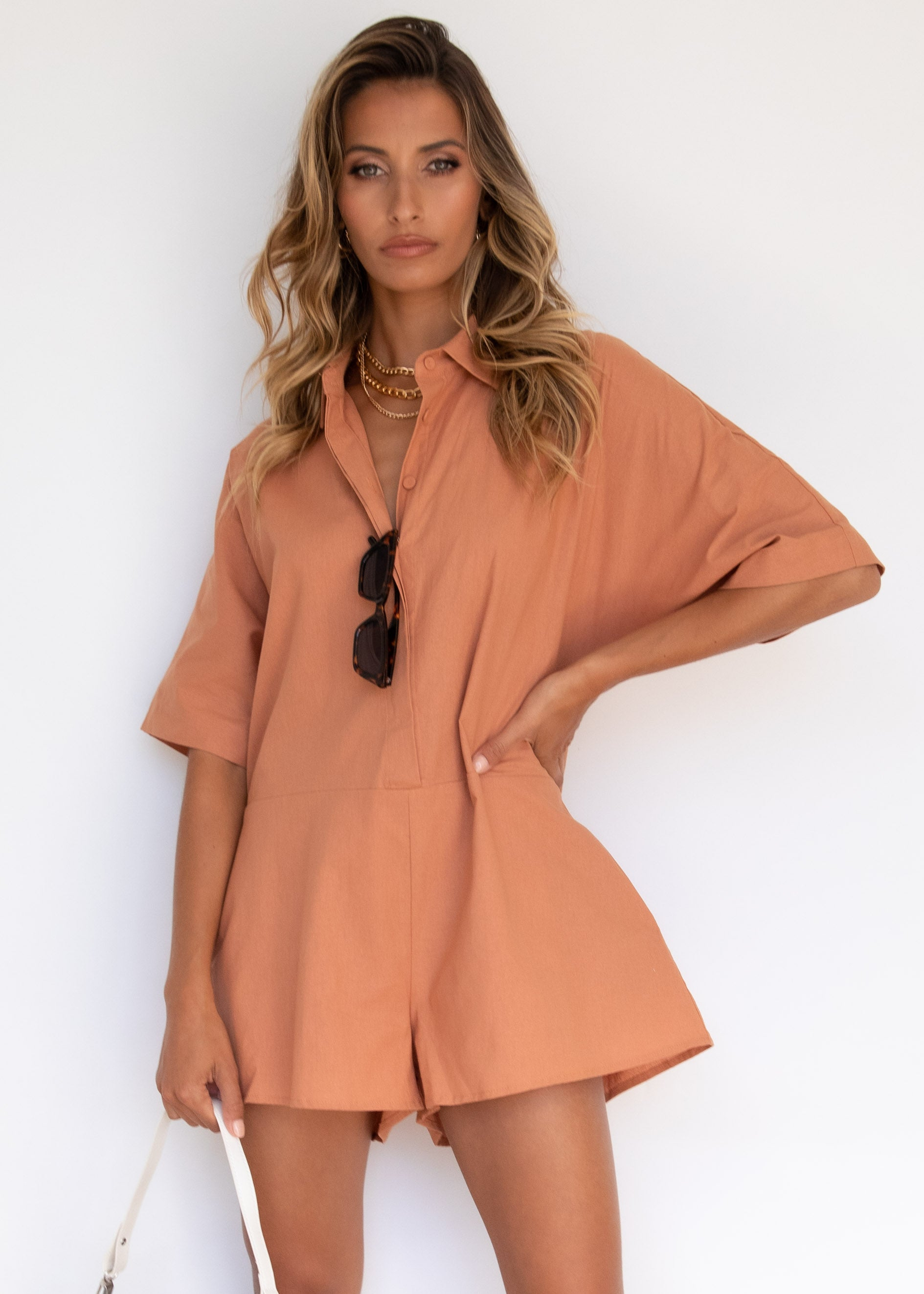Shayla Linen Playsuit - Rust
