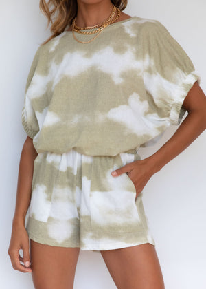 Girl Talk Top - Olive Tie-Dye