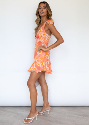 Maliboo Dress - Peach/Yellow