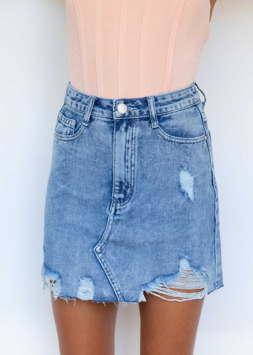 Ariel Denim Skirt - Acid Wash