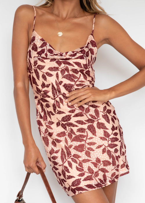 Maddie Dress - Wine Leaf