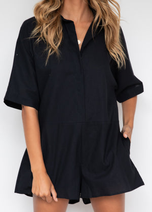 Shayla Linen Playsuit - Black