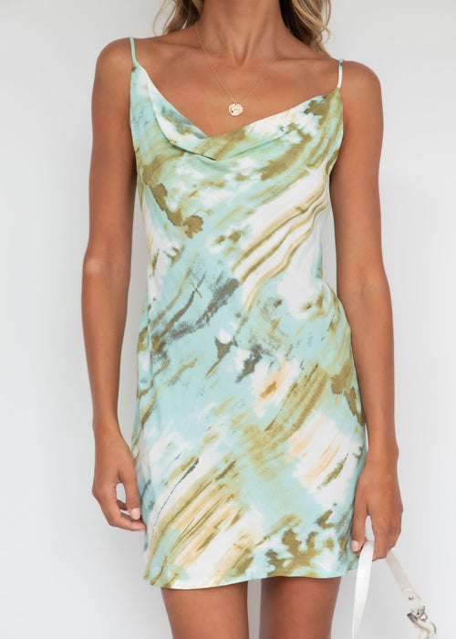 Sunset Fever Dress - Sage Watercolour
