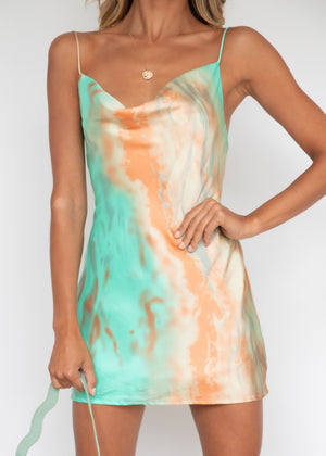 High Demand Dress - Orange/Teal