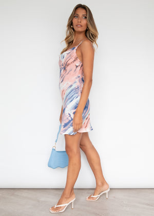 Sunset Fever Dress - Blue Watercolour