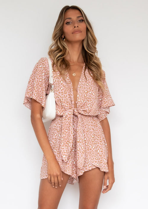 Neon Lights Playsuit - Blush Leopard