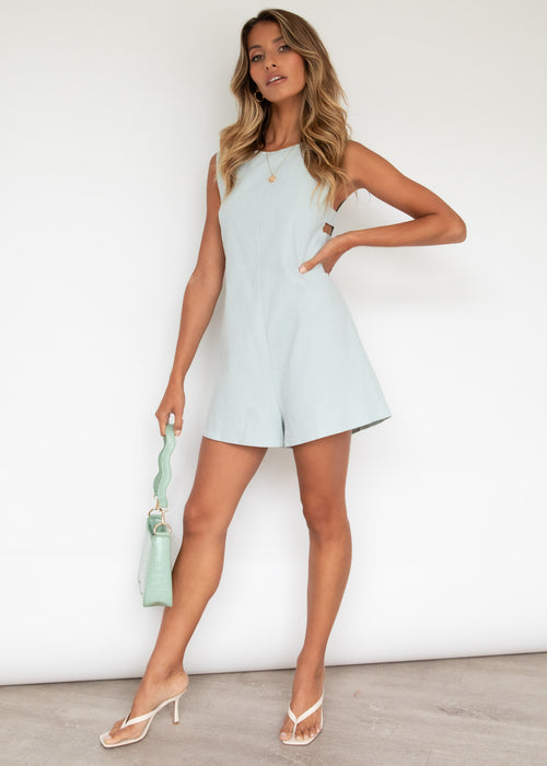 Navaeh Linen Playsuit - Powder Blue