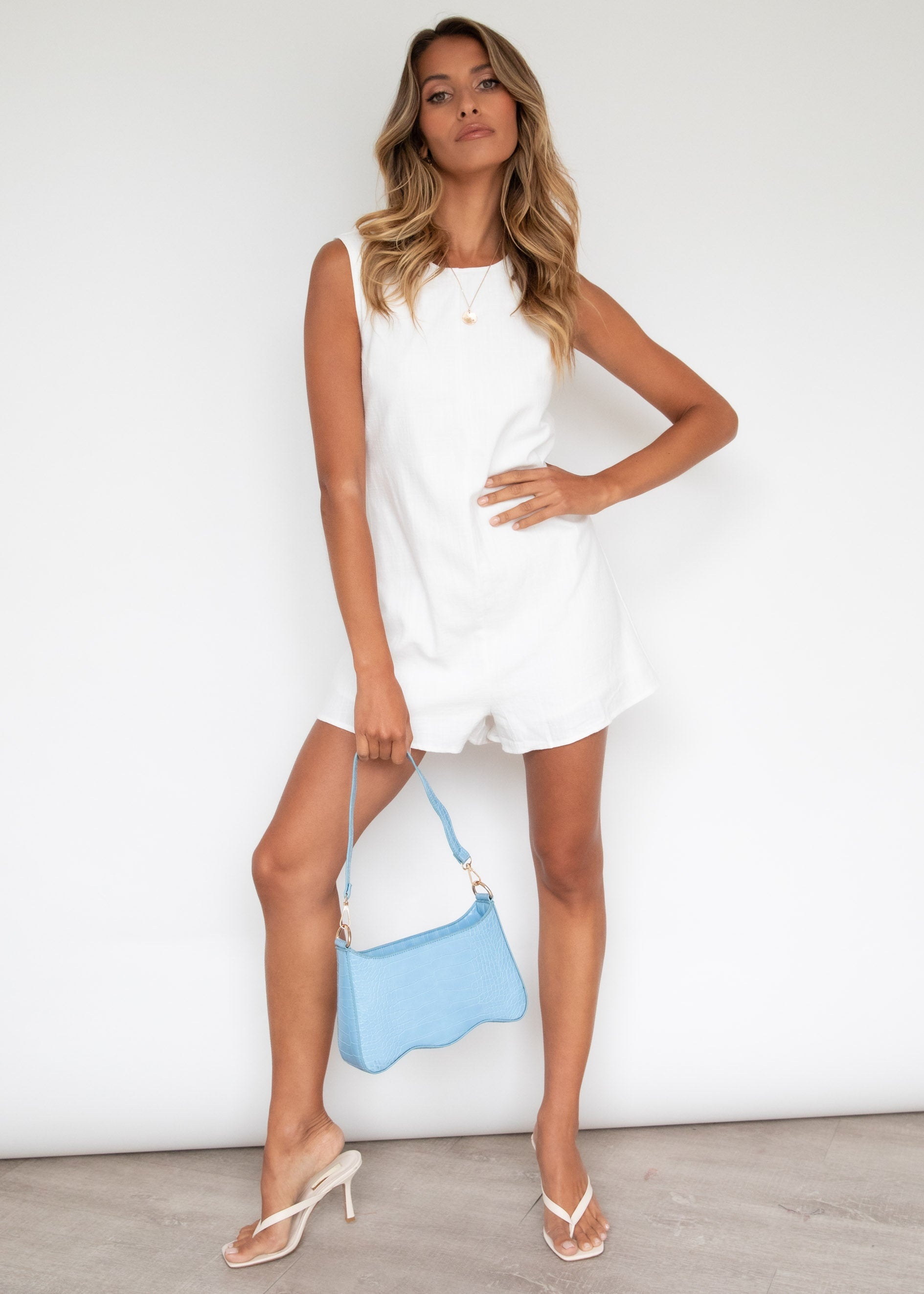 Navaeh Linen Playsuit - Off White