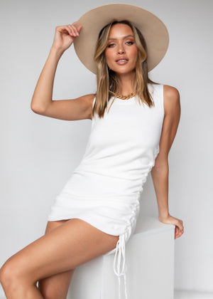 Aemilia Ruched Knit Mini Dress	White