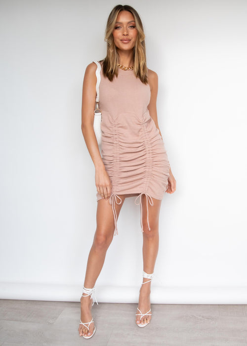 After Dark Ruched Knit Mini Dress - Tan
