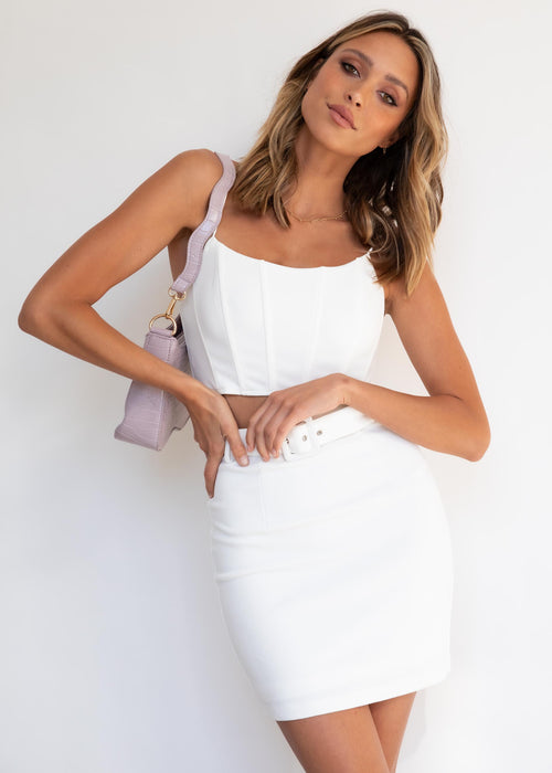 Stormi Mini Skirt - White
