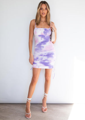 Lana Ruched Dress - Pink/Purple