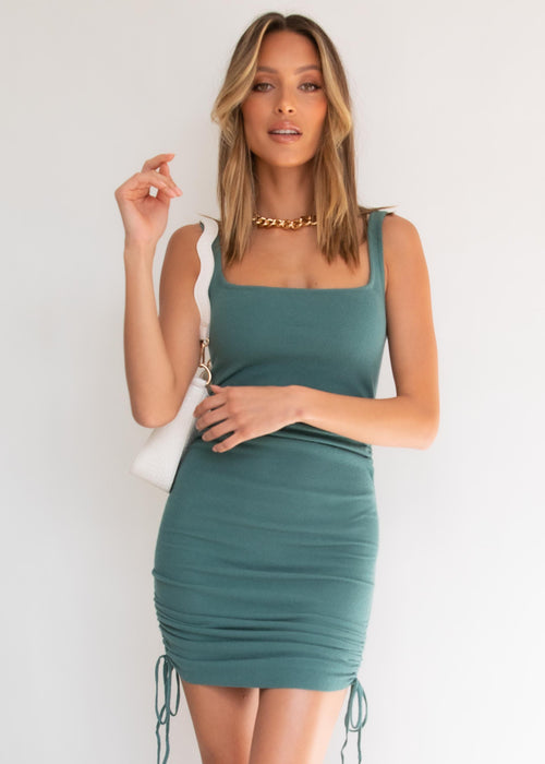 Essie Ruched Knit  Dress - Emerald