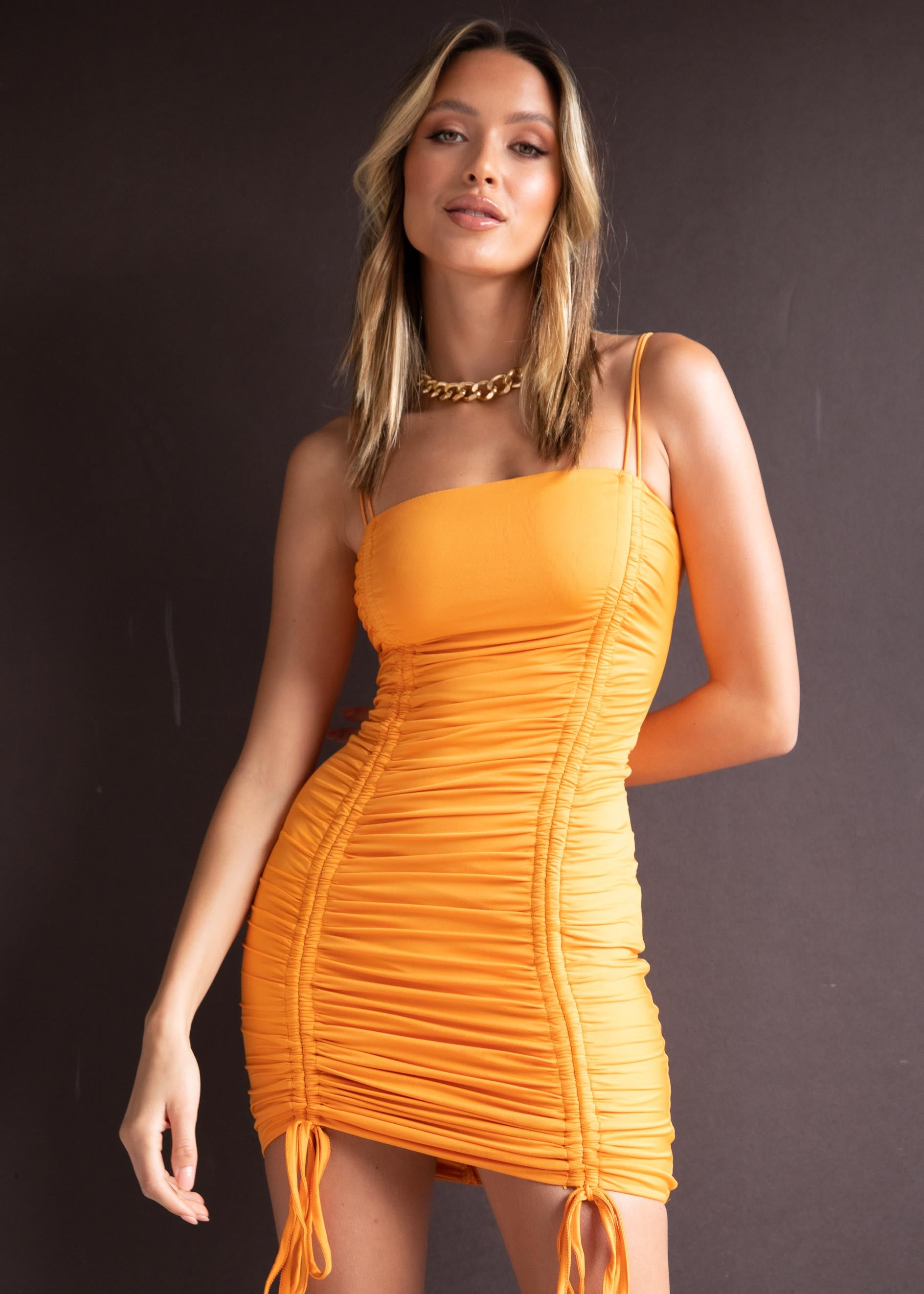 Fraya Ruched Mini Dress - Orange
