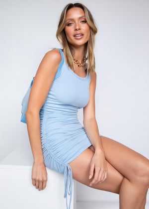 Delilah Ruched Mini Dress - Baby Blue