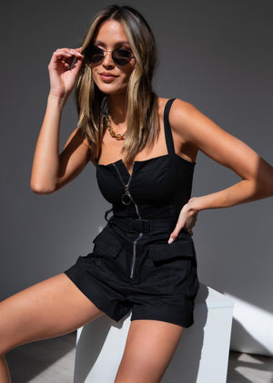 Farrah Utility Playsuit - Black