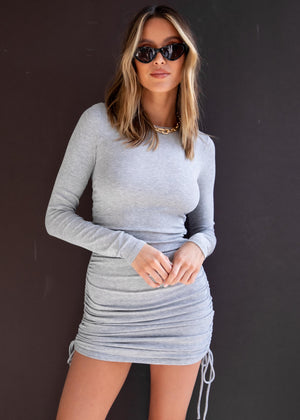 Kaylyn Ruched Mini Dress - Grey Marle