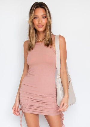 Yonce Ruched Mini Dress - Rose